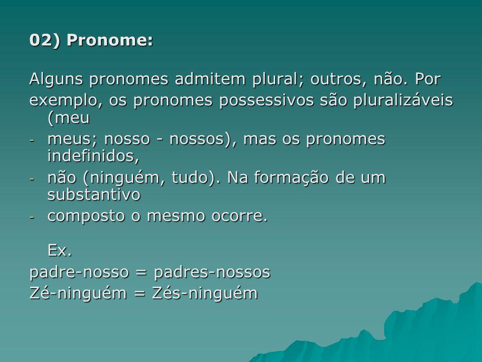 02) Pronome: Alguns pronomes admitem plural; outros, não. Por. exemplo, os pronomes possessivos são pluralizáveis (meu.