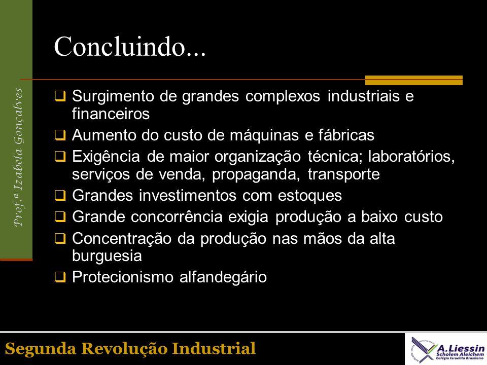 Concluindo... Surgimento de grandes complexos industriais e financeiros. Aumento do custo de máquinas e fábricas.
