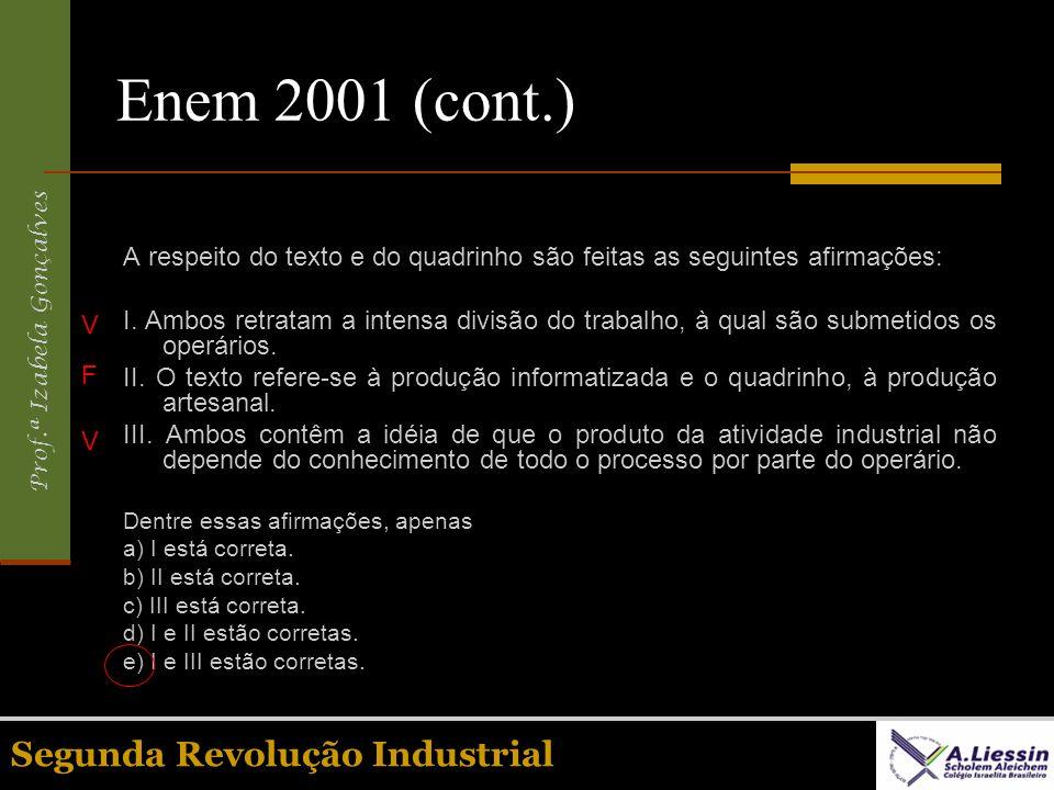Enem 2001 (cont.) Segunda Revolução Industrial