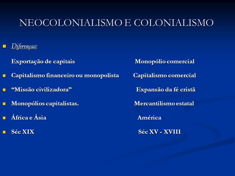 NEOCOLONIALISMO E COLONIALISMO