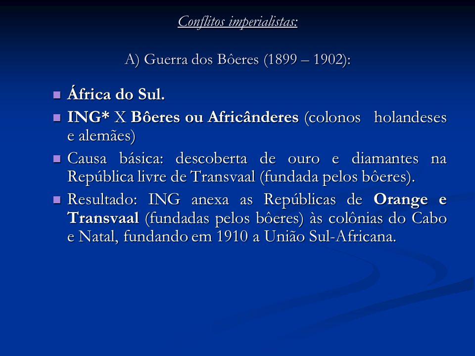 Conflitos imperialistas: A) Guerra dos Bôeres (1899 – 1902):
