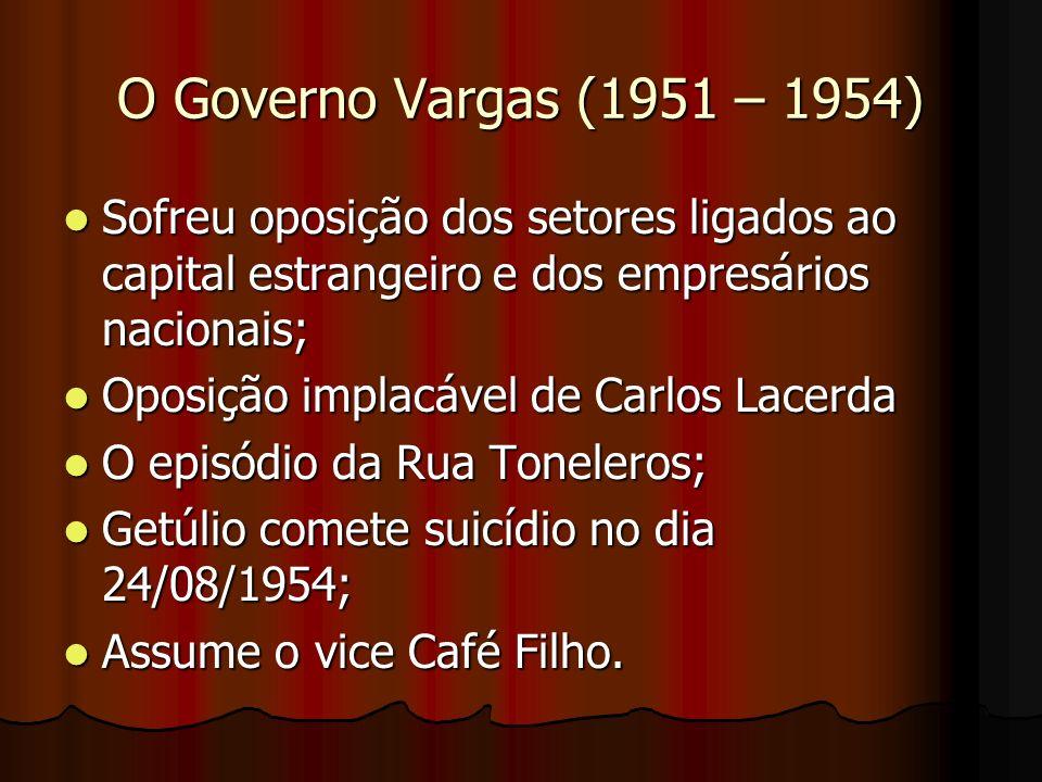 O Governo Vargas (1951 – 1954)Sofreu oposição dos setores ligados ao capital estrangeiro e dos empresários nacionais;