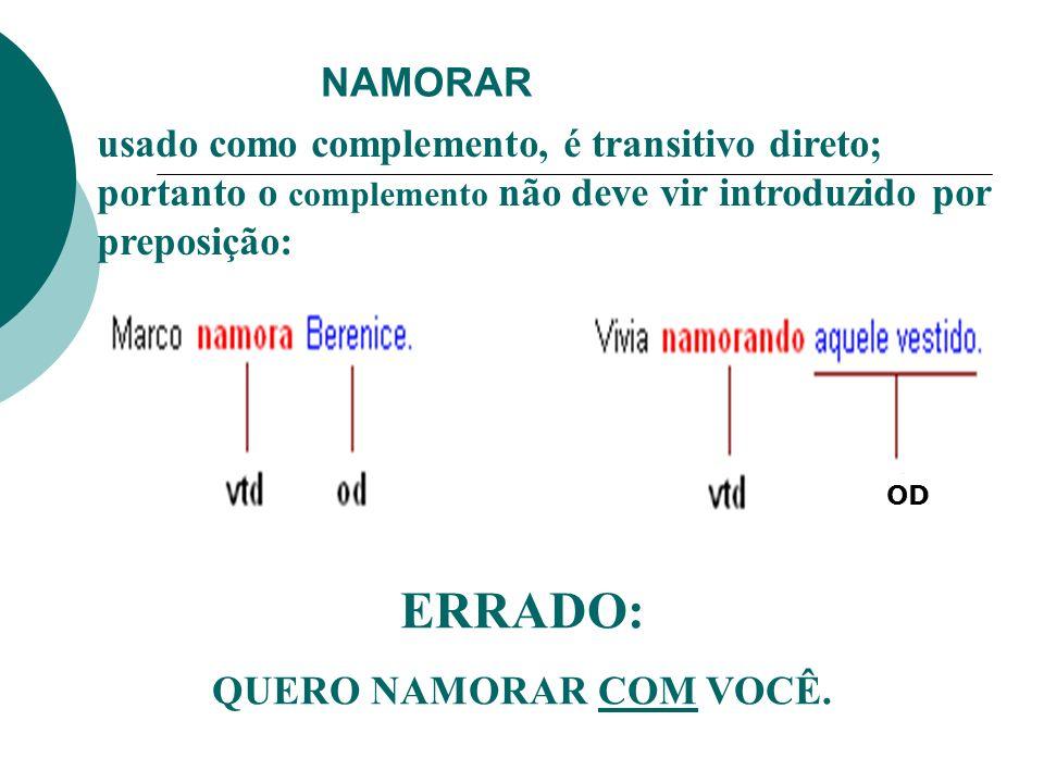 NAMORARusado como complemento, é transitivo direto; portanto o complemento não deve vir introduzido por preposição: