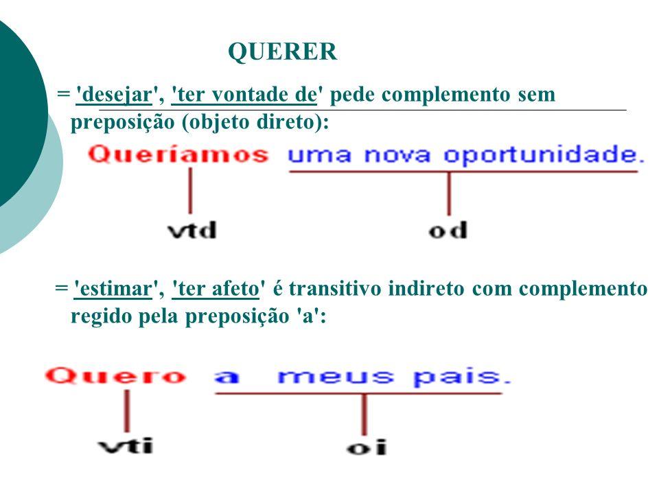 QUERER = desejar , ter vontade de pede complemento sem preposição (objeto direto):