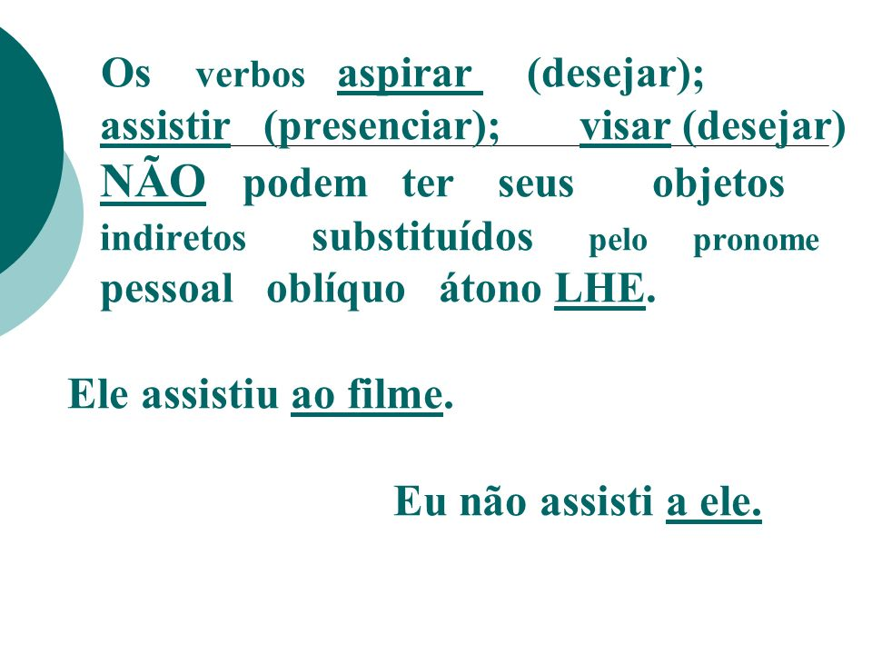Os verbos aspirar (desejar);