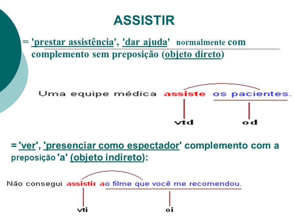 ASSISTIR = prestar assistência , dar ajuda normalmente com complemento sem preposição (objeto direto)