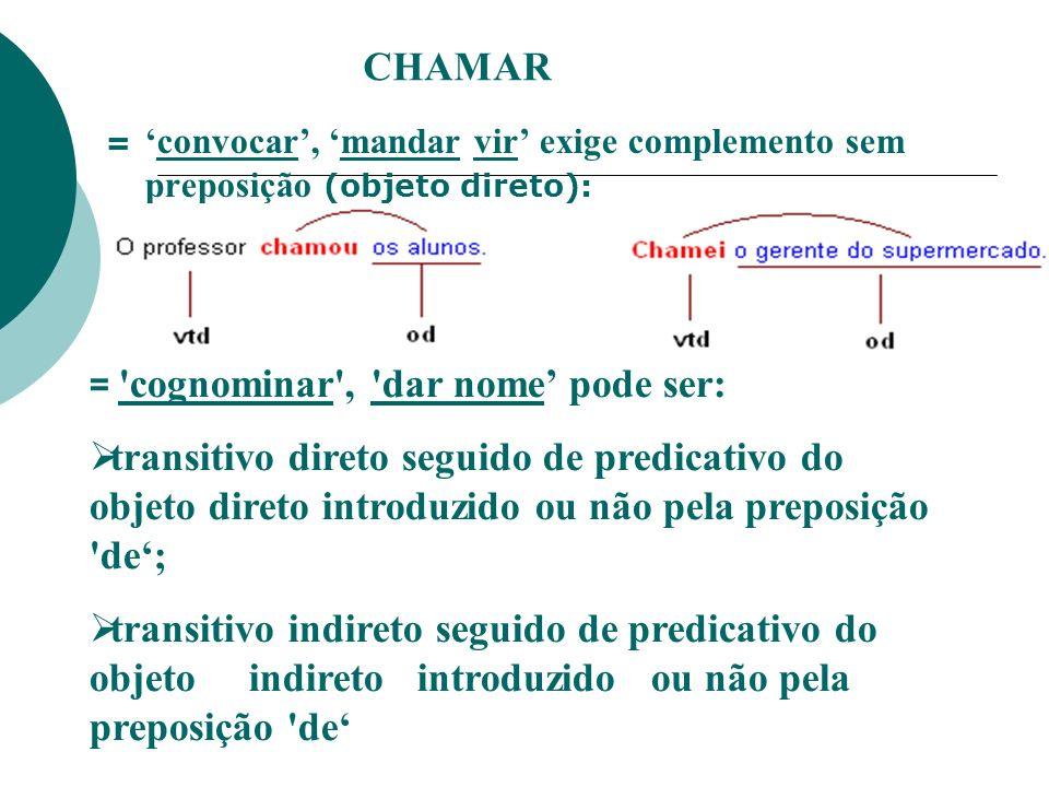 CHAMAR= 'convocar', 'mandar vir' exige complemento sem preposição (objeto direto): = cognominar , dar nome' pode ser: