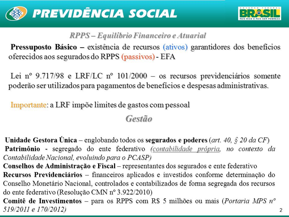 RPPS – Equilíbrio Financeiro e Atuarial