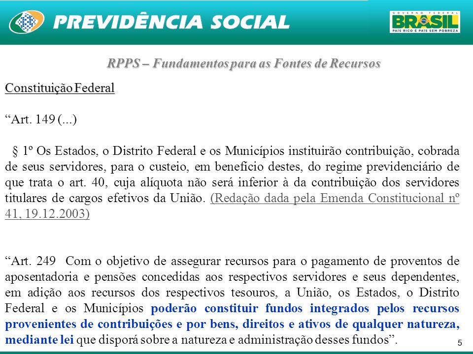 RPPS – Fundamentos para as Fontes de Recursos