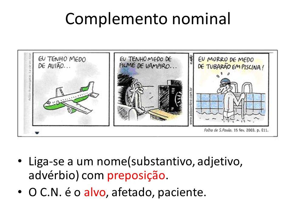 Complemento nominal Liga-se a um nome(substantivo, adjetivo, advérbio) com preposição.