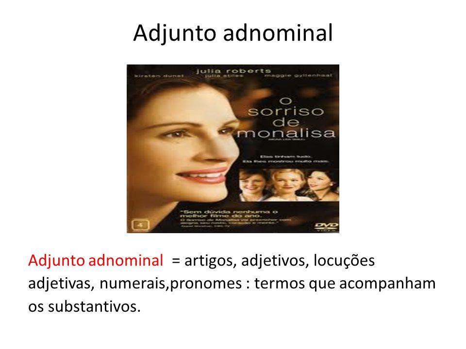 Adjunto adnominal Adjunto adnominal = artigos, adjetivos, locuções adjetivas, numerais,pronomes : termos que acompanham os substantivos.