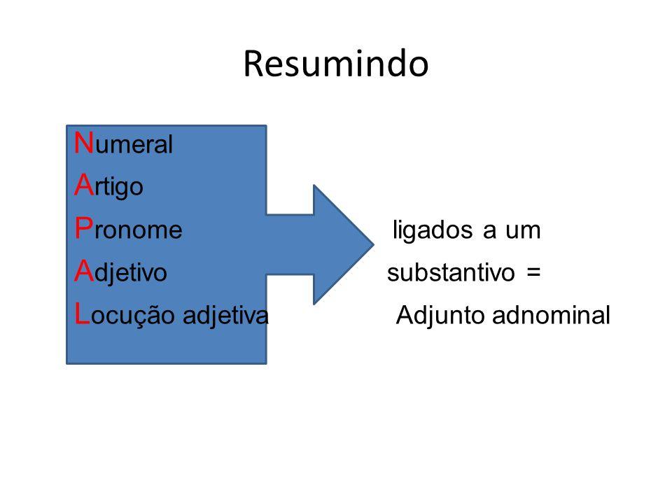 Resumindo Numeral Artigo Pronome ligados a um Adjetivo substantivo = Locução adjetiva Adjunto adnominal