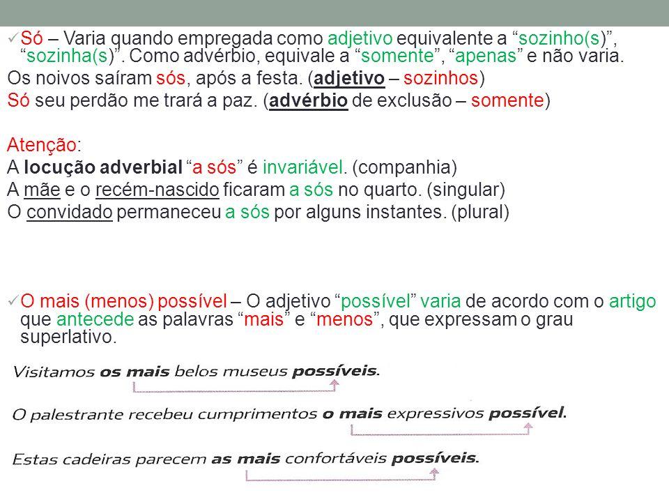 Só – Varia quando empregada como adjetivo equivalente a sozinho(s) , sozinha(s) . Como advérbio, equivale a somente , apenas e não varia.
