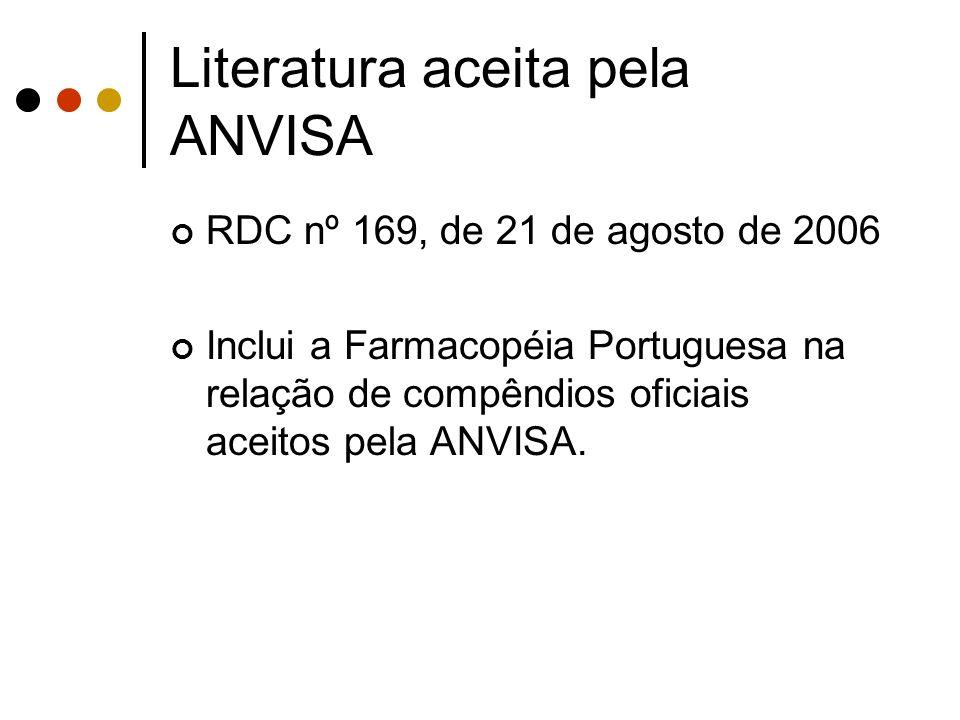 Literatura aceita pela ANVISA