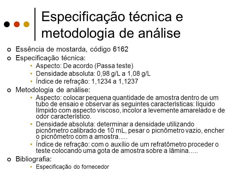 Especificação técnica e metodologia de análise