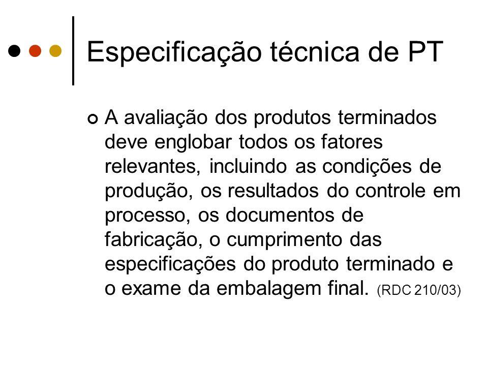 Especificação técnica de PT