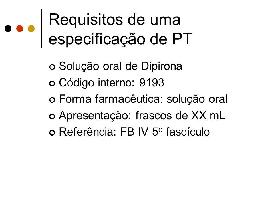 Requisitos de uma especificação de PT