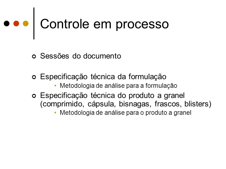 Controle em processo Sessões do documento