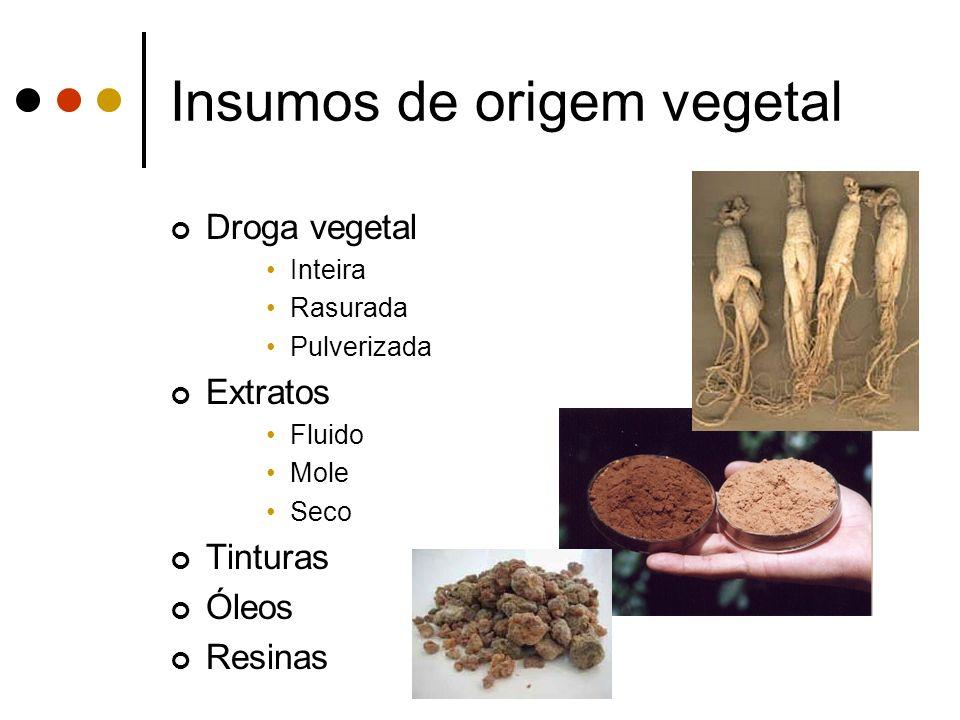 Insumos de origem vegetal