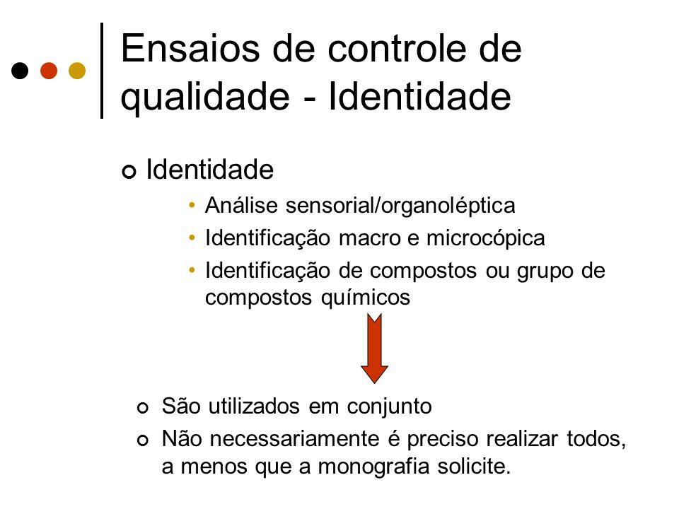 Ensaios de controle de qualidade - Identidade