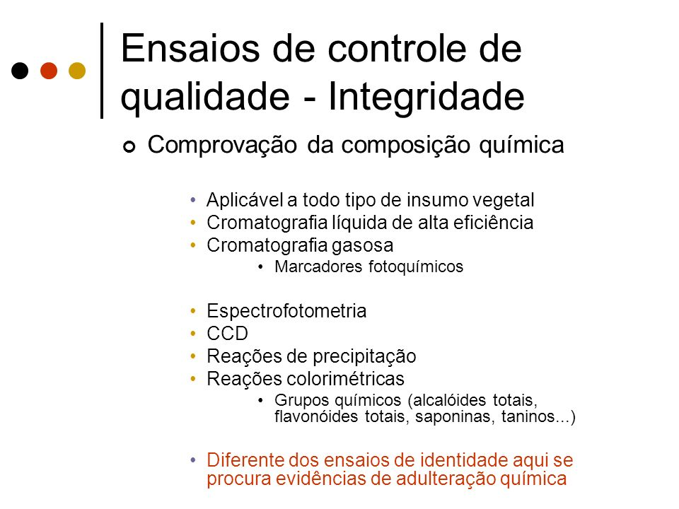 Ensaios de controle de qualidade - Integridade