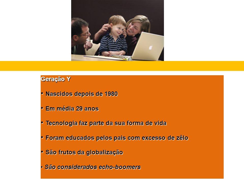 Geração Y Nascidos depois de 1980. Em média 29 anos. Tecnologia faz parte da sua forma de vida. Foram educados pelos pais com excesso de zêlo.