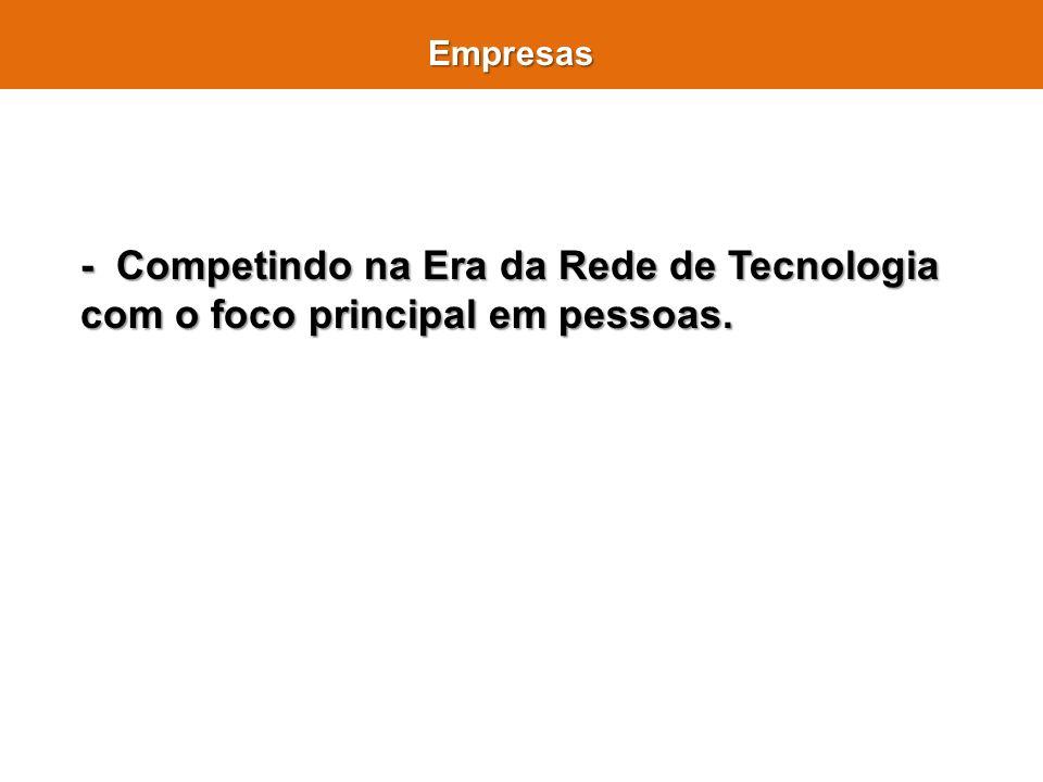 Empresas - Competindo na Era da Rede de Tecnologia com o foco principal em pessoas.