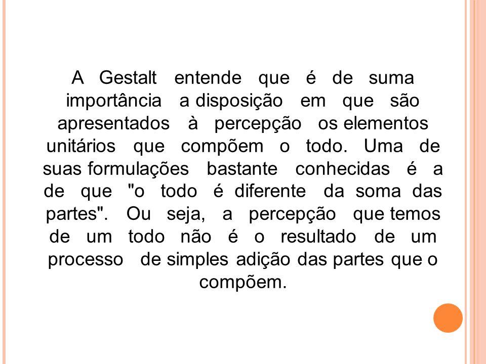 A Gestalt entende que é de suma importância a disposição em que são apresentados à percepção os elementos unitários que compõem o todo.