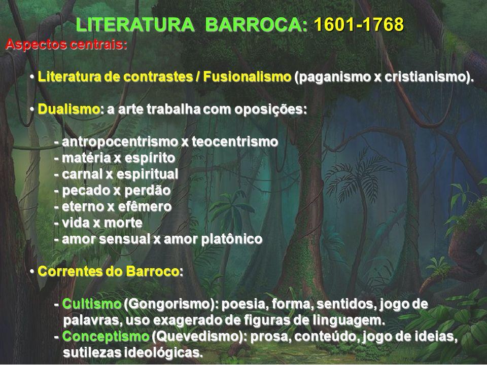 LITERATURA BARROCA: 1601-1768 Aspectos centrais: