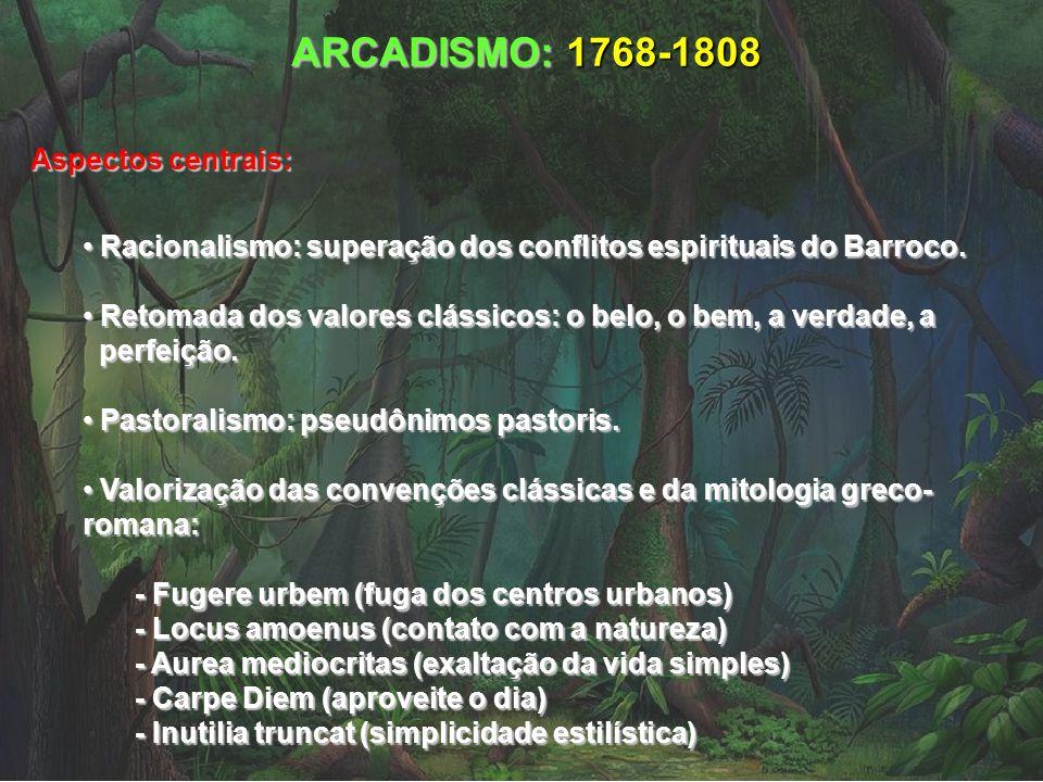 ARCADISMO: 1768-1808 Aspectos centrais: