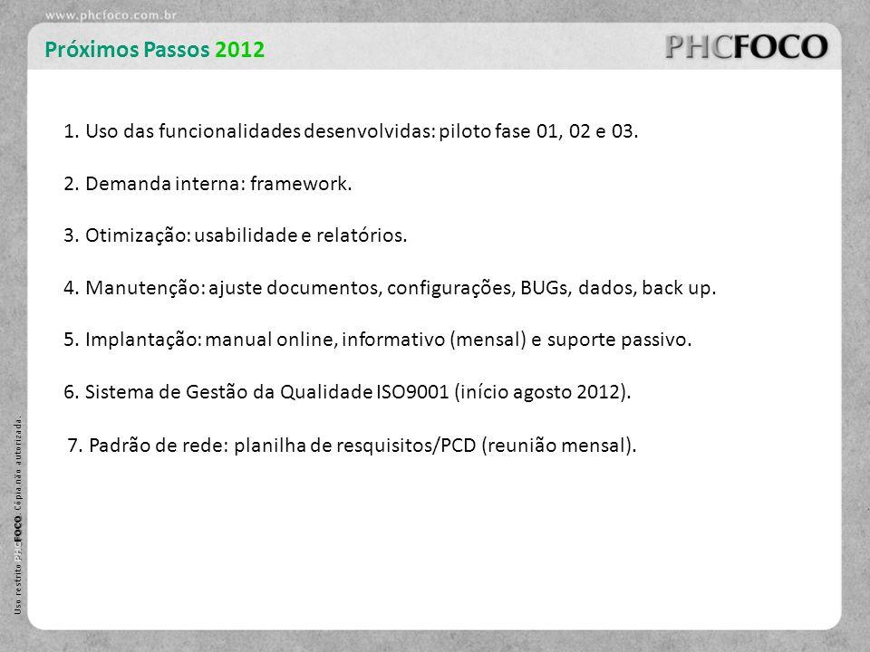 Próximos Passos 2012 1. Uso das funcionalidades desenvolvidas: piloto fase 01, 02 e 03. 2. Demanda interna: framework.