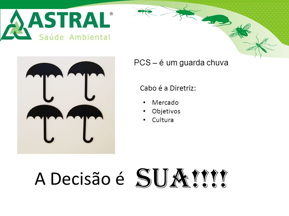 SUA!!!! A Decisão é PCS – é um guarda chuva Cabo é a Diretriz: Mercado