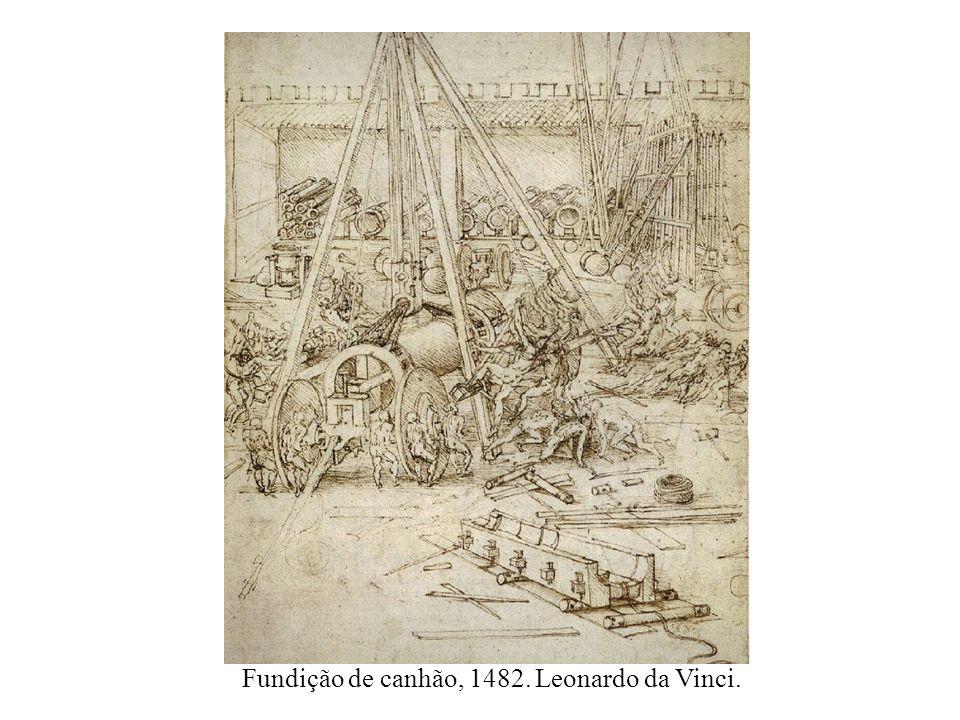 Fundição de canhão, 1482. Leonardo da Vinci.