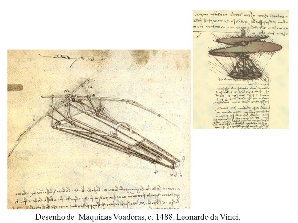 Desenho de Máquinas Voadoras, c. 1488. Leonardo da Vinci.