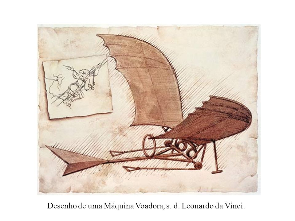 Desenho de uma Máquina Voadora, s. d. Leonardo da Vinci.