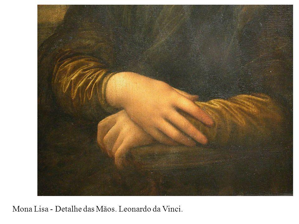 Mona Lisa - Detalhe das Mãos. Leonardo da Vinci.