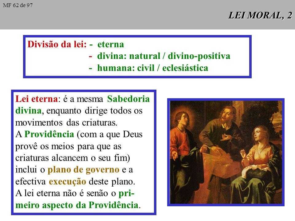 Divisão da lei: - eterna - divina: natural / divino-positiva
