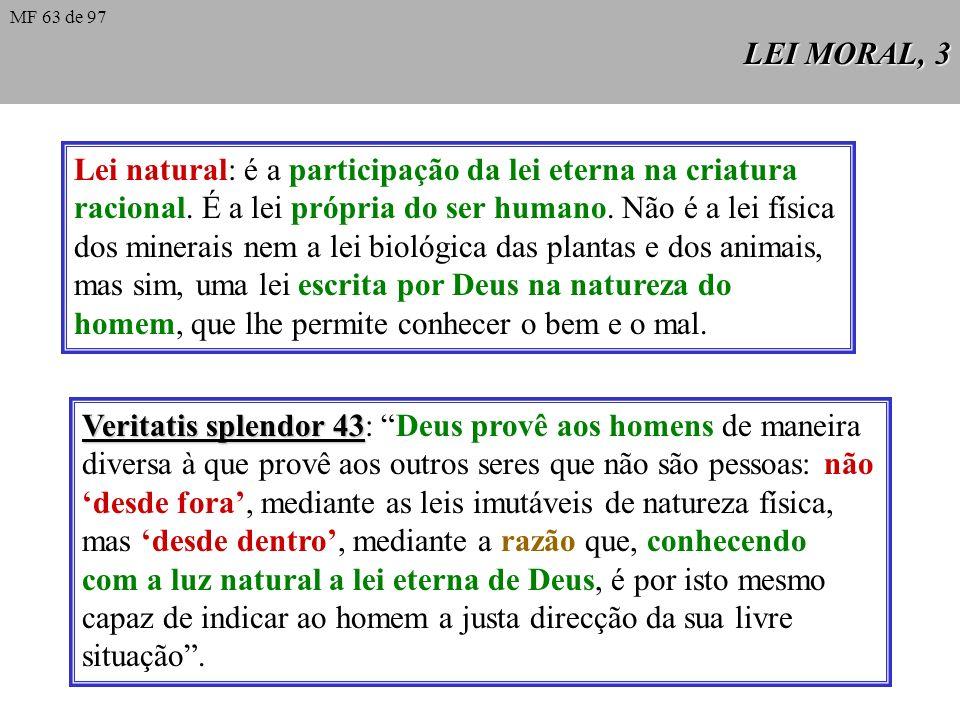Lei natural: é a participação da lei eterna na criatura