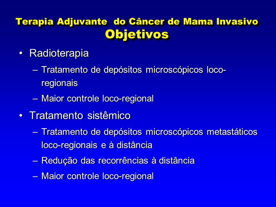 Terapia Adjuvante do Câncer de Mama Invasivo Objetivos