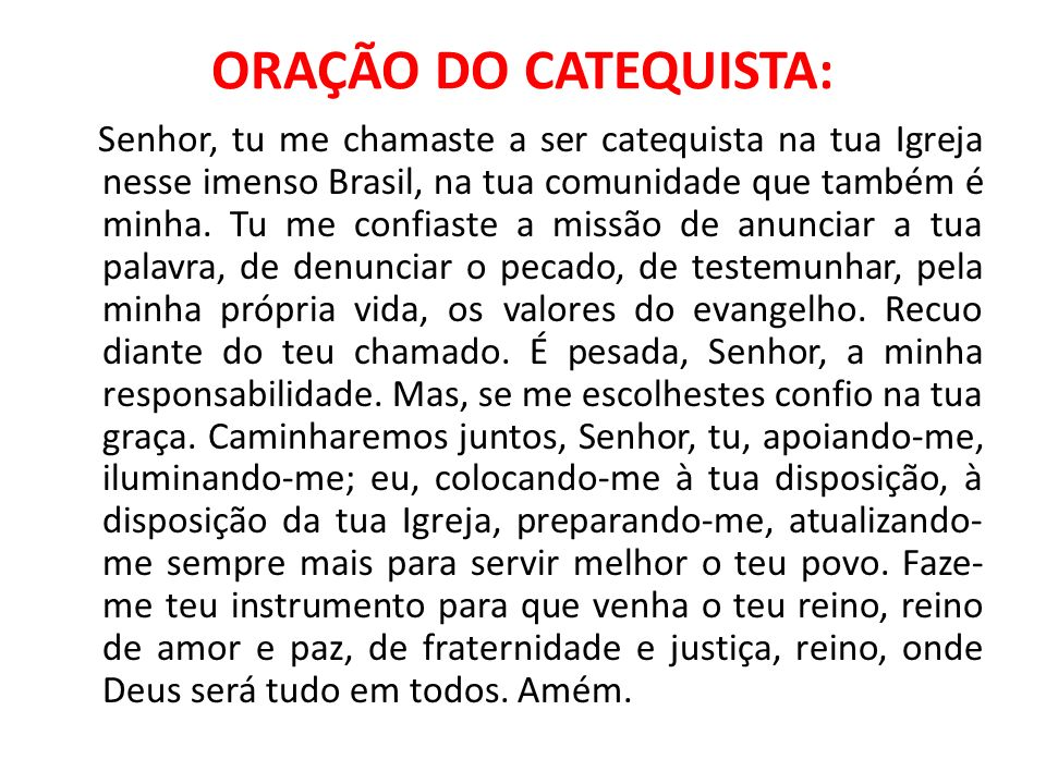 ORAÇÃO DO CATEQUISTA: