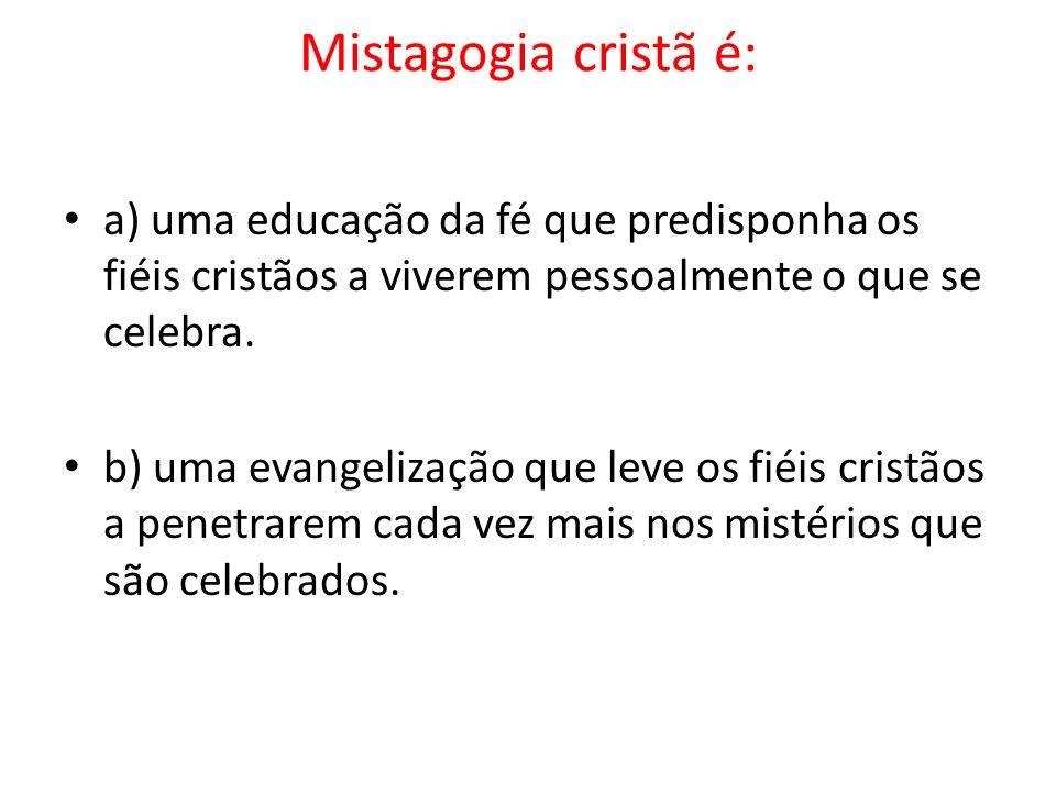 Mistagogia cristã é:a) uma educação da fé que predisponha os fiéis cristãos a viverem pessoalmente o que se celebra.