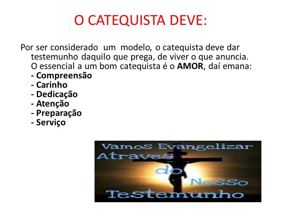 O CATEQUISTA DEVE:
