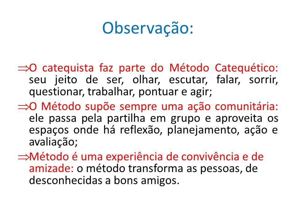 Observação:O catequista faz parte do Método Catequético: seu jeito de ser, olhar, escutar, falar, sorrir, questionar, trabalhar, pontuar e agir;