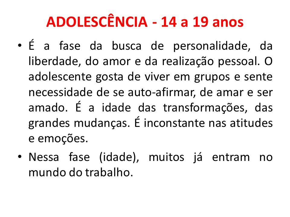 ADOLESCÊNCIA - 14 a 19 anos