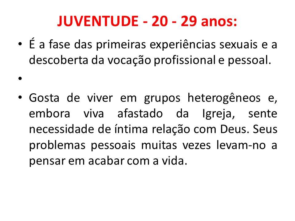 JUVENTUDE - 20 - 29 anos:É a fase das primeiras experiências sexuais e a descoberta da vocação profissional e pessoal.