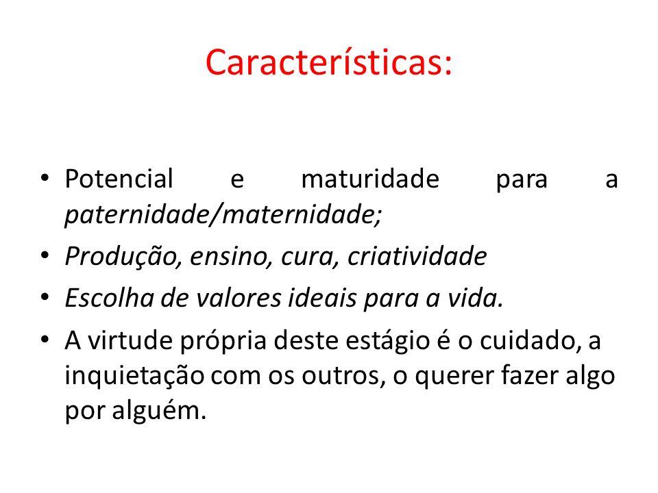 Características: Potencial e maturidade para a paternidade/maternidade; Produção, ensino, cura, criatividade.