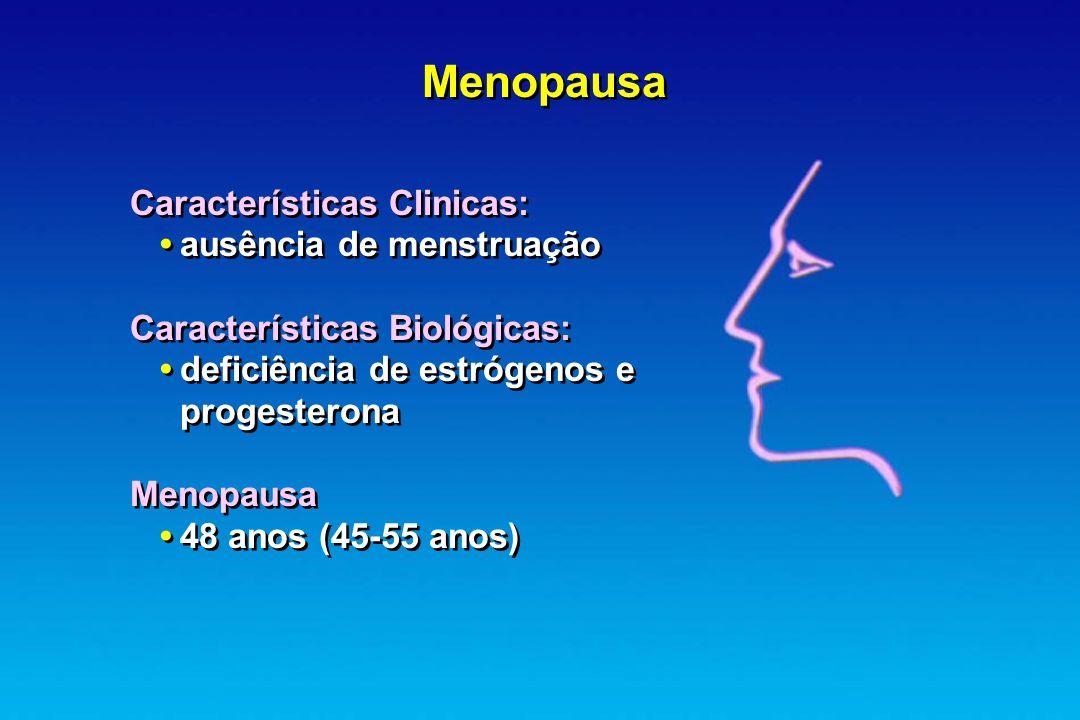 Menopausa Características Clinicas: • ausência de menstruação