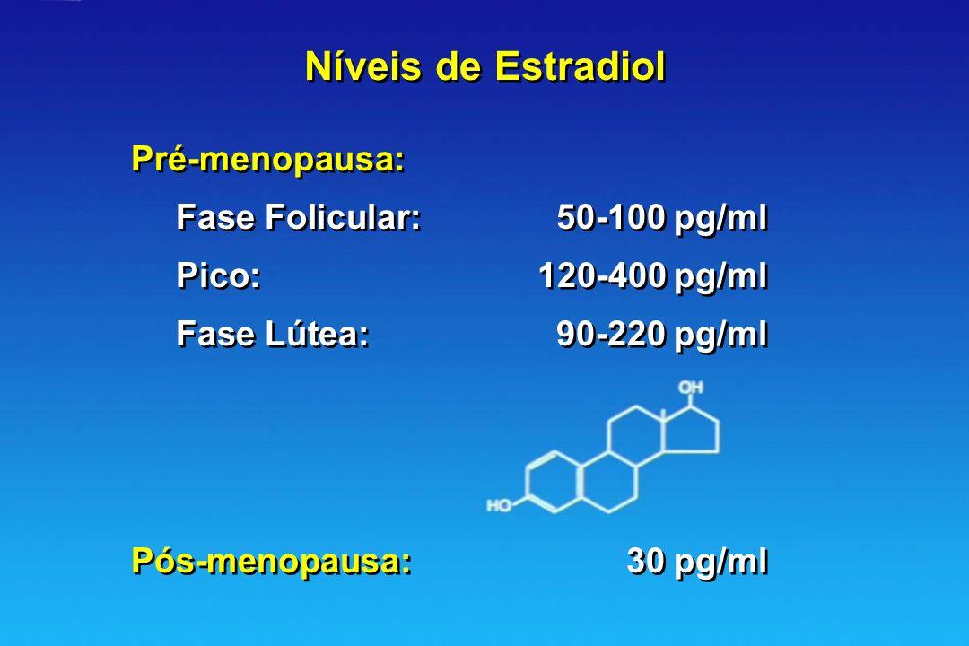 Níveis de Estradiol Pré-menopausa: Fase Folicular: 50-100 pg/ml