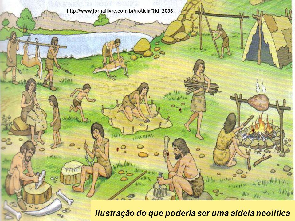 Ilustração do que poderia ser uma aldeia neolítica