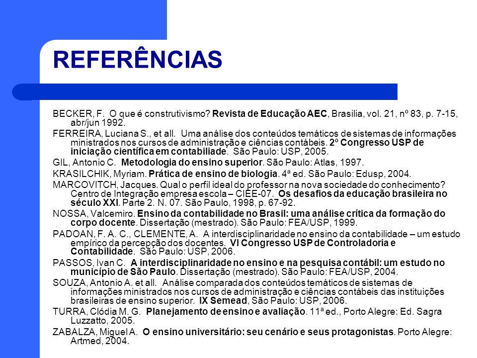 REFERÊNCIAS BECKER, F. O que é construtivismo Revista de Educação AEC, Brasilia, vol. 21, nº 83, p. 7-15, abr/jun 1992.